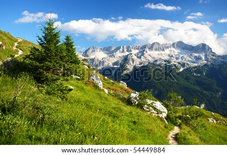 A beutiful landscape in the mountains. A footpath for mountaineers and hikers with a beautiful view over the summits of the Alps.