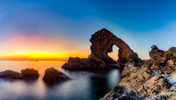 A Beutiful Sunrise in Ban Than Beach, Tam Hai Island, Quang Nam, Vietnam.Ban Than Beach is a beautiful beach with many special rocks and stones. Tam Hai Island is a new place for visit in Quang Nam.