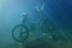 A bicycle is submerged under the water, sunbeams are penetrating the waters, a tiny fish is swimming around, Moscow region, Russia
