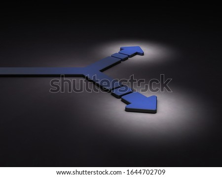 A bifurcation that splits right and left at the tip. Dark background. 3D illustration.