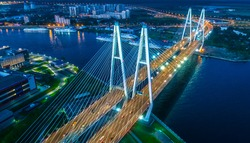 A big bridge over the river. Highway from the air. St. Petersburg. Russia. Cable-stayed bridge.