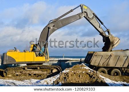 A big bulldozer at construction site