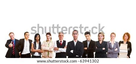 A big business people team in a row