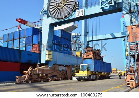 A big container vessel in a container seaport during transportation of cargo in containers by cranes and lorry trucks.