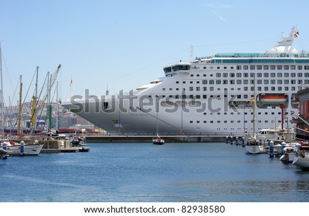 A big cruise ship on August 11, 2011 in the harbour of La Coruña, Galicia, Spain.