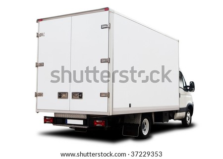 A Big Delivery Truck Isolated on White