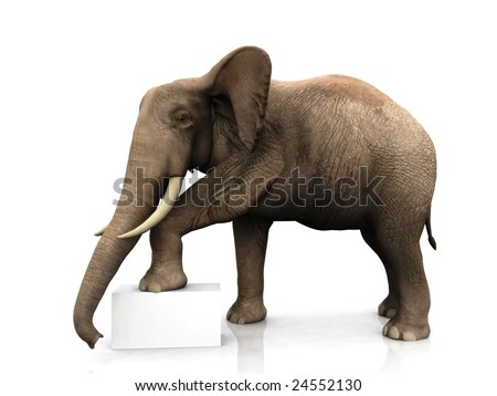 A big elephant with one of its legs on a white box or sign.