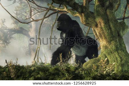 A big hairy ape waits at the edge of the jungle to welcome any intruders into his densely forested realm. The gorilla stands with an alert stance and an angry snarl. 3D Rendering