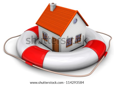 A big lifebelt with a house on the white background.