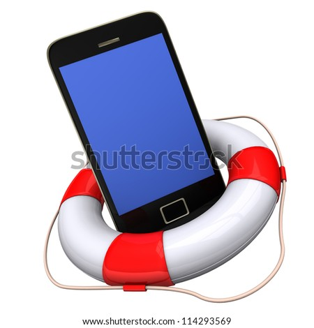 A big lifebelt with smartphone on the white background.