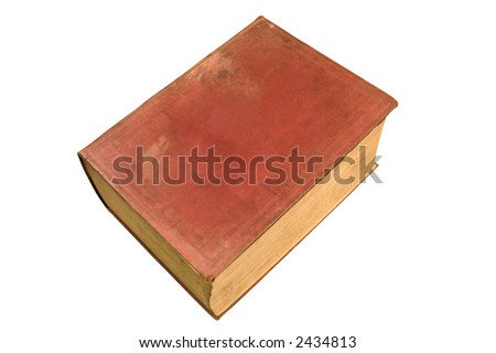 A big old red book with a blank cover.