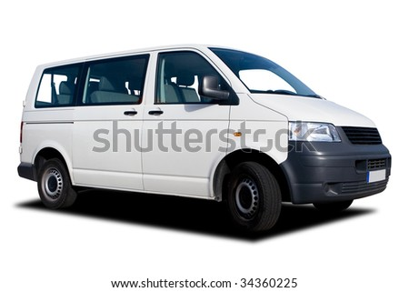 A Big Passenger Van Isolated on White