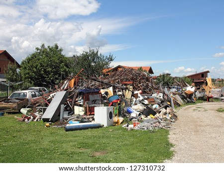 A big pile of all the different kinds of scrap iron, ready for recycling