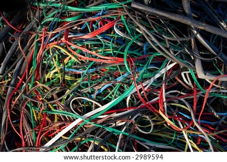 A big pile of colorful plastic cables