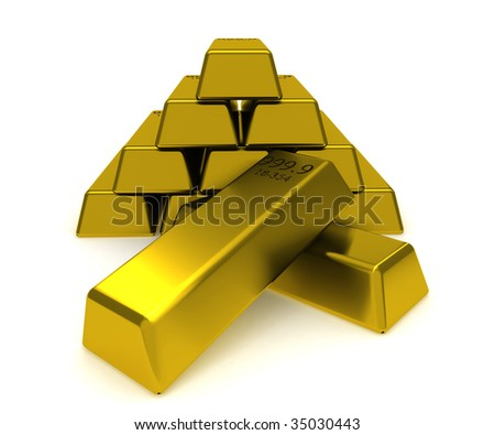 stock photo : A big pile of gold blocks isolated on white