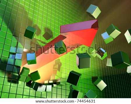 A big red arrow is breaking a cube wall. Digital illustration.