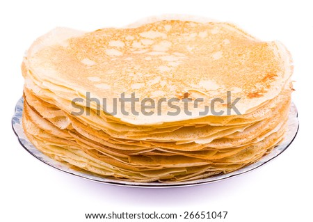 A big stack of pancakes on the white background