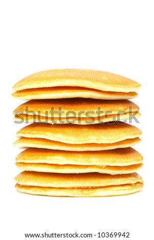 A big stack of pancakes. Shallow depth of field