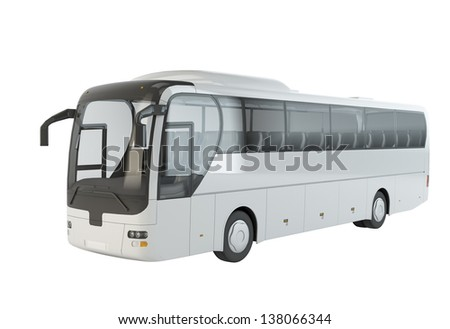 A big tour bus isolated on white  background
