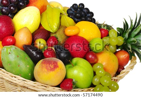 A big variety of exotic fruits in a basket