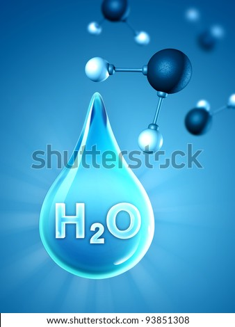 A big water drop with some water molecules on background. Digital illustration.