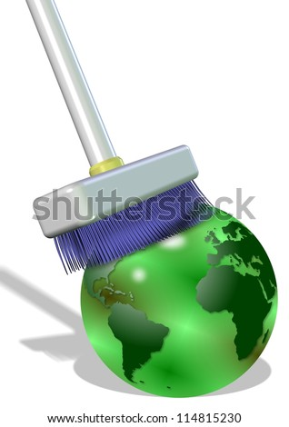 A big white broom cleaning earth globe on the white background / Clean the earth