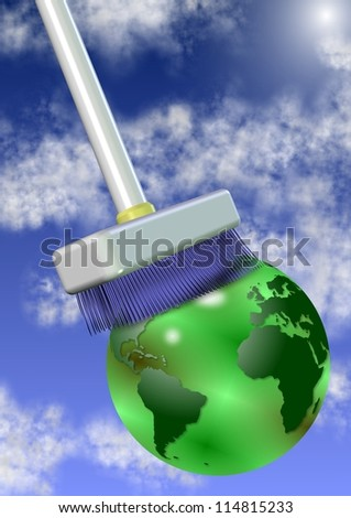 A big white broom cleaning earth globe with sky and clouds in the background / Clean the planet