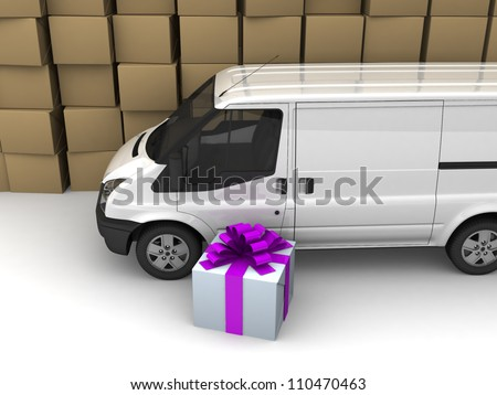 A Big White Delivery or Cargo Van, gift Box