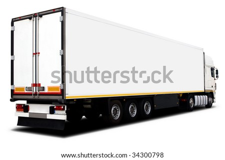 A Big White Semi-Trailer Truck Isolated #34300798