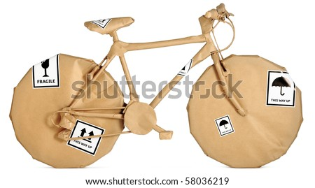 a bike,bicycle wrapped in brown paper ready for christmas or a move Stock photo ©