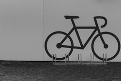 A bike parking opportunity with a symbol