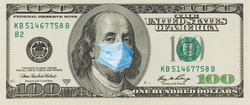 A 100 bill with a medical mask from Benjamin Franklin from the COVID-19 Coronavirus in the United States.