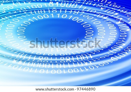 a binary code making ripples on the surface of blue water / binary code ripple