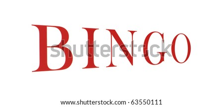 A bingo sign on a white background with large red lettering.