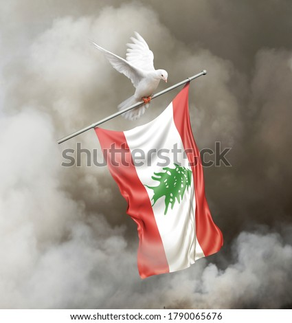 A bird carrying a Lebanese flag through a background of smoke. A concept for the recent tragic explosion in Beirut Lebanon. 3D illustration