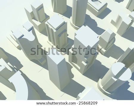 A bird's eye view of a three dimensional rendered city with all of the buildings in white.