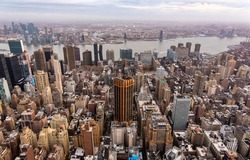 A bird's eye view of Manhattan (New York) skyscrapers