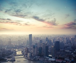 a bird's eye view of shanghai at dusk