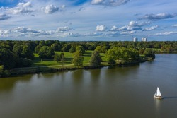 A bird's-eye view of the Aasee near Münster / Germany