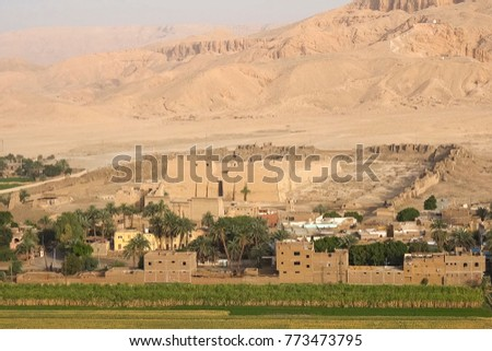 A bird's eye view of the ancient Egyptian sights and terrain #773473795