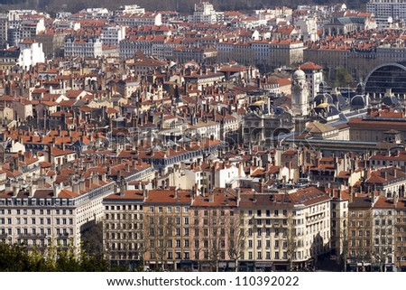 A bird\'s eye view of the French city of Lyon with the city hall on place des Terreaux.