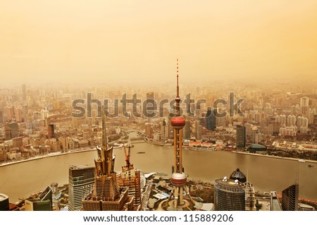A bird's eye view of the Shanghai lujiazui