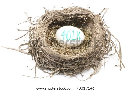 A bird's nest with a 401K egg in it showing the concept of a retirement nest egg.