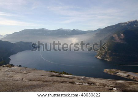 A bird view from the peak of Stawamus Chief in BC, Canada.