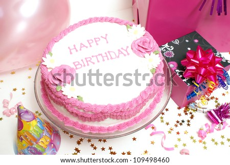 A birthday cake for any aged female.