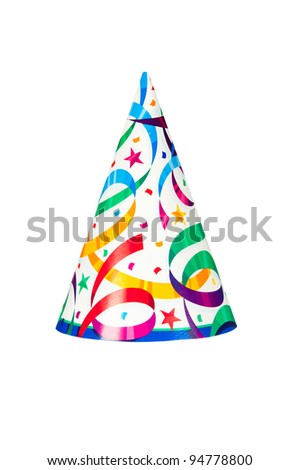 A birthday or new years party hat isolated on a white background