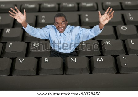Man trapped inside a keyboard but surprisingly happy about it