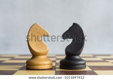 Photo of  A black and a white horse on a chessboard