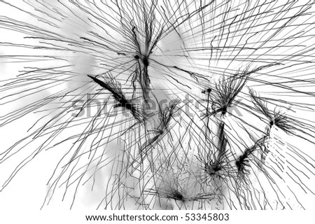 a black and white background with lines and splashing paint