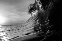 A black and white breaking wave in New York